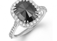 princess cut large black diamond ring
