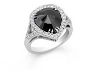 pear cut black diamond ring